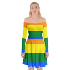 Pride rainbow flag Off Shoulder Skater Dress