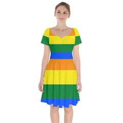Pride rainbow flag Short Sleeve Bardot Dress
