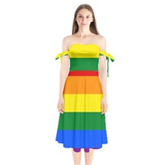 Pride rainbow flag Shoulder Tie Bardot Midi Dress