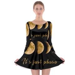 Moon phases  Long Sleeve Skater Dress