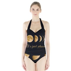 Moon phases  Halter Swimsuit