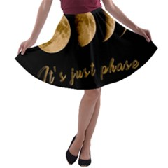 Moon phases  A-line Skater Skirt