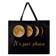 Moon phases  Zipper Large Tote Bag
