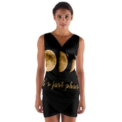 Moon phases  Wrap Front Bodycon Dress