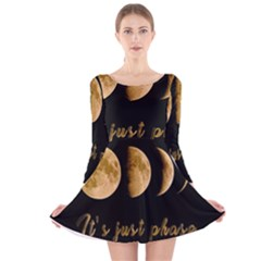 Moon phases  Long Sleeve Velvet Skater Dress