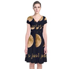 Moon phases  Short Sleeve Front Wrap Dress