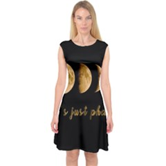 Moon phases  Capsleeve Midi Dress