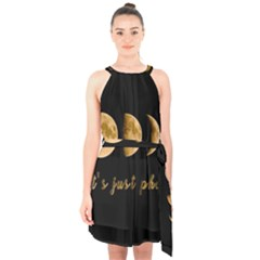 Moon phases  Halter Collar Waist Tie Chiffon Dress