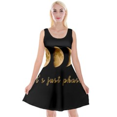 Moon phases  Reversible Velvet Sleeveless Dress