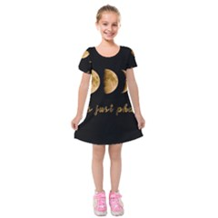 Moon phases  Kids  Short Sleeve Velvet Dress