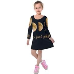 Moon phases  Kids  Long Sleeve Velvet Dress