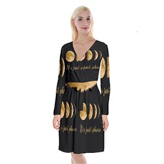 Moon phases  Long Sleeve Velvet Front Wrap Dress
