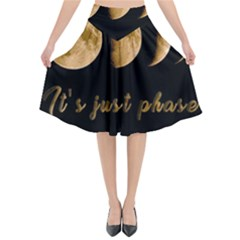 Moon phases  Flared Midi Skirt