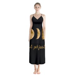 Moon phases  Button Up Chiffon Maxi Dress