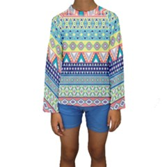 Tribal Print Kids  Long Sleeve Swimwear