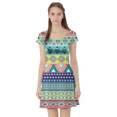 Tribal Print Short Sleeve Skater Dress