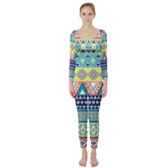 Tribal Print Long Sleeve Catsuit