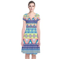 Tribal Print Short Sleeve Front Wrap Dress
