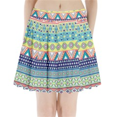 Tribal Print Pleated Mini Skirt