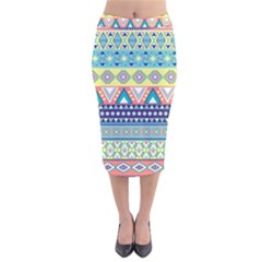 Tribal Print Velvet Midi Pencil Skirt