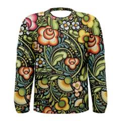 Bohemia Floral Pattern Men s Long Sleeve Tee