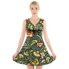 Bohemia Floral Pattern V Neck Sleeveless Skater Dress