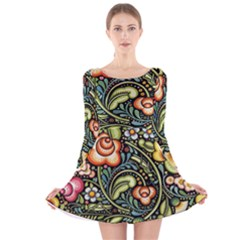 Bohemia Floral Pattern Long Sleeve Velvet Skater Dress