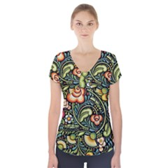 Bohemia Floral Pattern Short Sleeve Front Detail Top