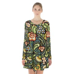 Bohemia Floral Pattern Long Sleeve Velvet V Neck Dress