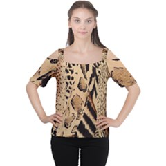 Animal Fabric Patterns Women s Cutout Shoulder Tee