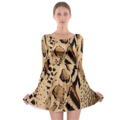 Animal Fabric Patterns Long Sleeve Skater Dress