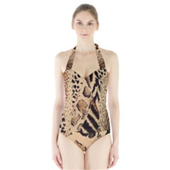 Animal Fabric Patterns Halter Swimsuit