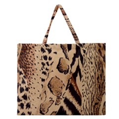 Animal Fabric Patterns Zipper Large Tote Bag