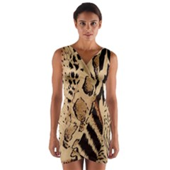 Animal Fabric Patterns Wrap Front Bodycon Dress