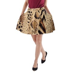 Animal Fabric Patterns A Line Pocket Skirt