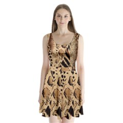 Animal Fabric Patterns Split Back Mini Dress