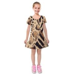 Animal Fabric Patterns Kids  Short Sleeve Velvet Dress
