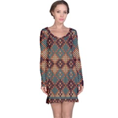 Knitted Pattern Long Sleeve Nightdress
