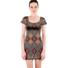 Knitted Pattern Short Sleeve Bodycon Dress
