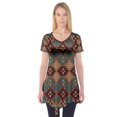 Knitted Pattern Short Sleeve Tunic
