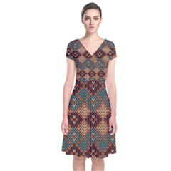 Knitted Pattern Short Sleeve Front Wrap Dress