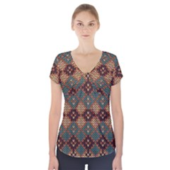 Knitted Pattern Short Sleeve Front Detail Top
