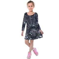 Spider Web Wallpaper 14 Kids  Long Sleeve Velvet Dress