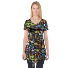 Many Funny Animals Short Sleeve Tunic