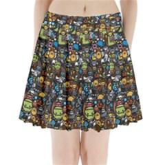 Many Funny Animals Pleated Mini Skirt