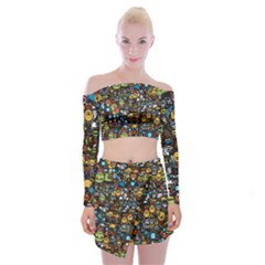 Many Funny Animals Off Shoulder Top With Skirt Set