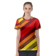 Abstract Bright Stripes Women s Sport Mesh Tee
