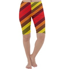 Abstract Bright Stripes Cropped Leggings