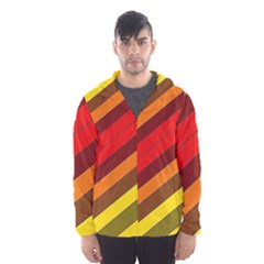 Abstract Bright Stripes Hooded Wind Breaker (men)