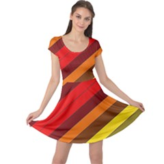 Abstract Bright Stripes Cap Sleeve Dresses